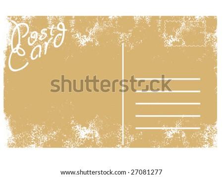 vector illustration of blank old grunge postcard - stock vector