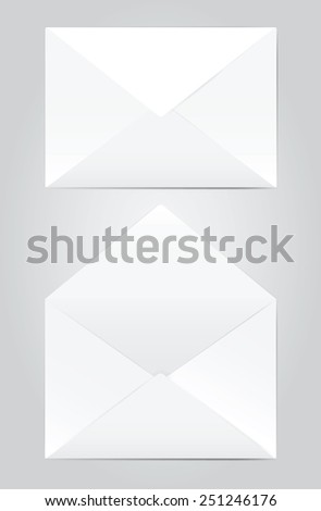 Vector illustration of blank open and closed envelope. - stock vector
