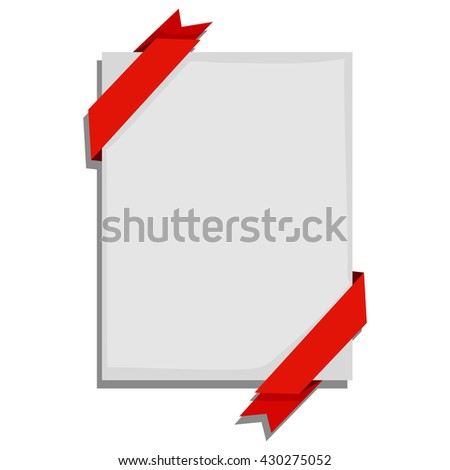 Vector Illustration of Blank Paper with red Ribbon - stock vector