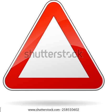Vector illustration of blank red triangle traffic sign - stock vector