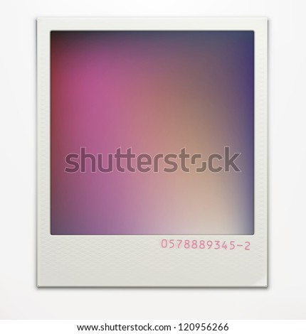 Vector illustration of blank retro photo frame over soft background with color correction layer for vintage faded look of your photos. Easy to use. - stock vector