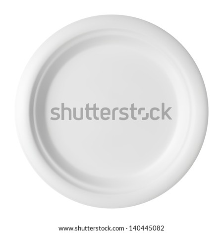 Vector illustration of blank white dinner plate. - stock vector
