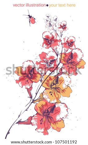 vector illustration of blooming flowers and a red beetle - stock vector