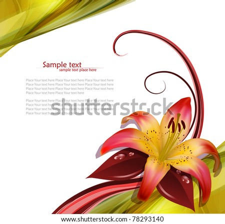 vector illustration of blooming lilies - stock vector