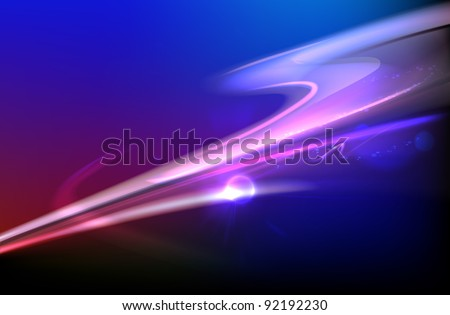 Vector illustration of blue abstract background with blurred magic neon light curved lines - stock vector
