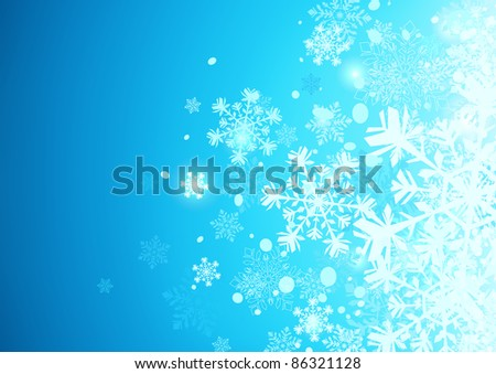 Vector illustration of Blue abstract background with cool snowflakes - stock vector