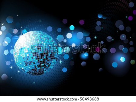 Vector illustration of  blue abstract party Background with glowing lights and disco ball - stock vector