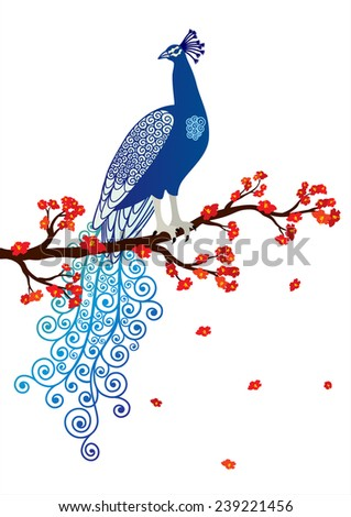 Vector illustration of blue abstract peacock on the red blossom tree branch on white background  - stock vector