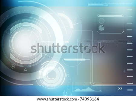 Vector illustration of blue abstract techno background - stock vector