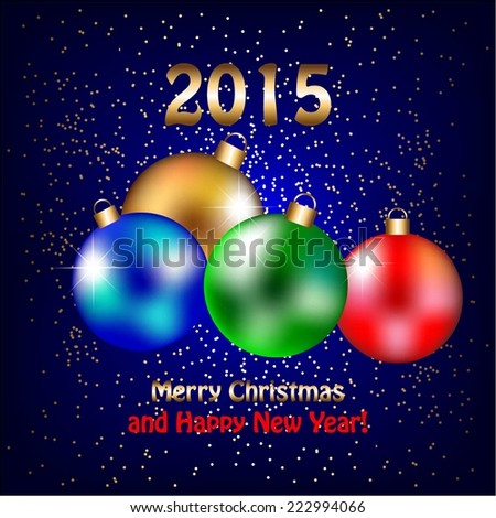 Vector illustration of Blue background. 2015. Christmas decorations