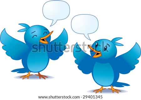 vector illustration of blue birds talking - easy to edit! - stock vector