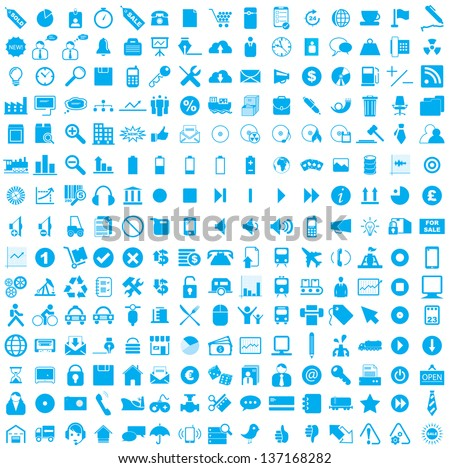 Vector illustration of 225 blue business and other various icons. - stock vector