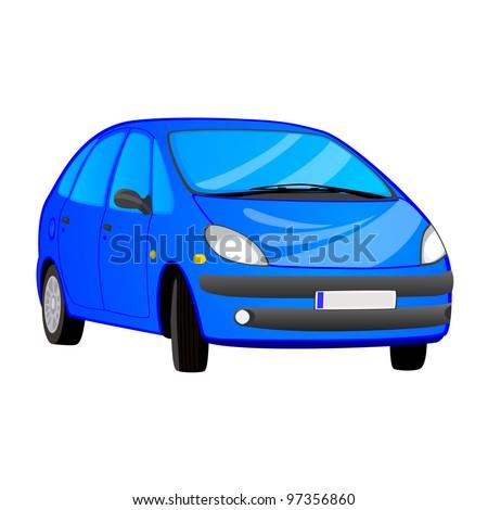 Vector illustration of blue car - stock vector