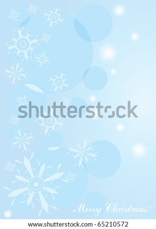 Vector illustration of blue Christmas background with snowflakes and lights
