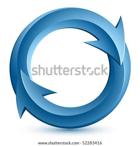 Vector illustration of blue circular arrows - stock vector
