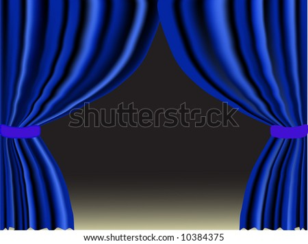 Vector illustration of blue curtain