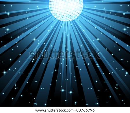 vector illustration of blue disco ball with light beams. EPS 10. - stock vector