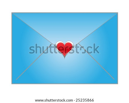 Vector illustration of blue envelope with red heart sticker - stock vector