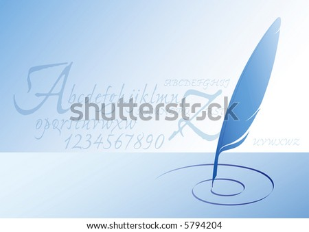 vector illustration of blue feather with letters textured background - stock vector