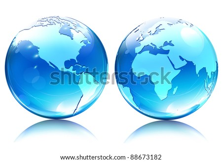 Vector illustration of blue Glossy Earth Map Globes different angles - stock vector