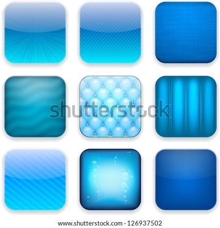 Vector illustration of blue high-detailed apps icon set. Eps10. - stock vector