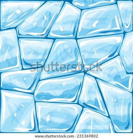 Vector illustration of blue ice brick seamless pattern - stock vector