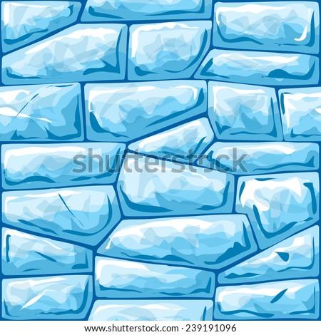 Vector illustration of blue ice brick seamless pattern - stock vector