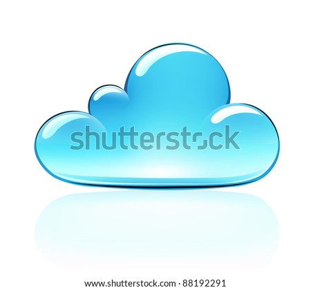 Vector illustration of blue internet cloud icon