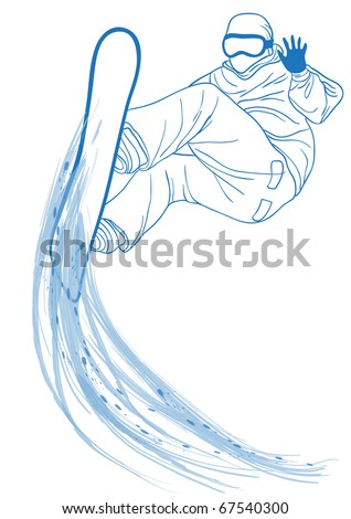 Vector illustration of blue outline of snowboard freerider - stock vector