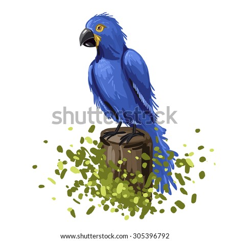 Vector illustration of blue parrot macaw. Colorful hand-drawing bird sitting on a tree isolated on a white background. - stock vector
