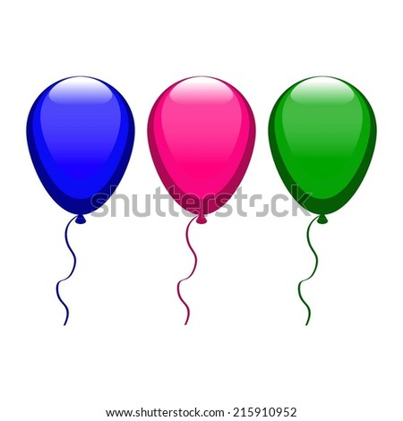 Vector illustration of Blue, pink, green balloons - stock vector