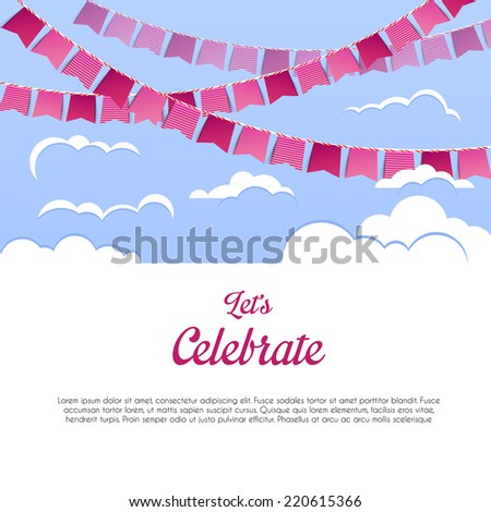 Vector illustration of Blue sky with colorful flags - stock vector