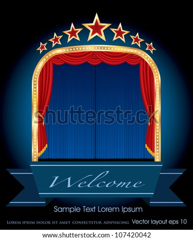 vector illustration of blue stage with red curtain and stars - stock vector