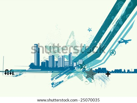 Vector illustration of blue style urban background - stock vector
