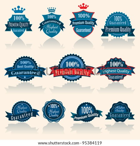 Vector illustration of blue vintage labels. - stock vector
