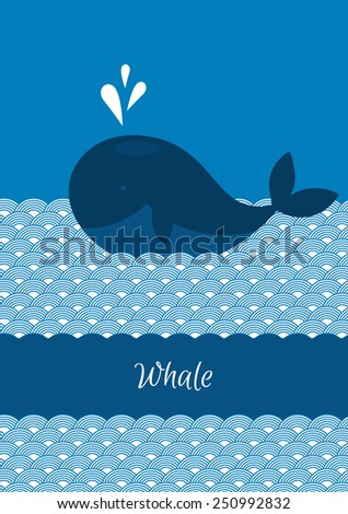 Vector illustration of Blue whale with sea - stock vector