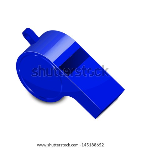 Vector illustration of blue whistle - stock vector