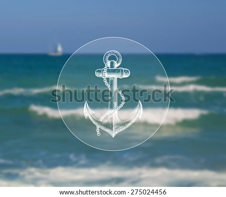 Vector illustration of blurred background for design. Sailboat at sea landscape. Vintage anchor. Sea adventure. Sea voyage. Travel design. Travel label. Template for poster. Retro backdrop. EPS 8. - stock vector