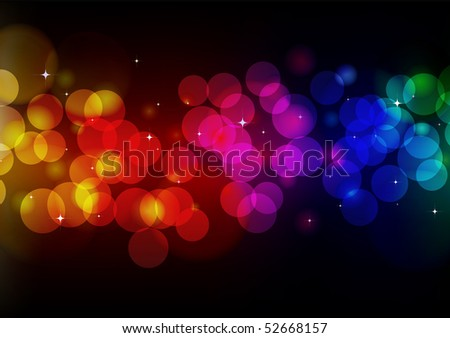 Vector illustration of blurred neon disco light dots pattern on black background - stock vector