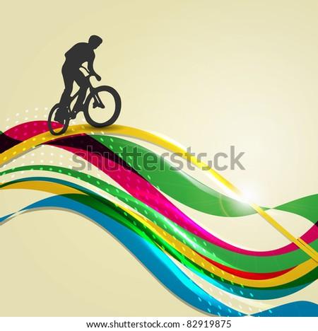 Vector illustration of BMX cyclist on rainbow - stock vector