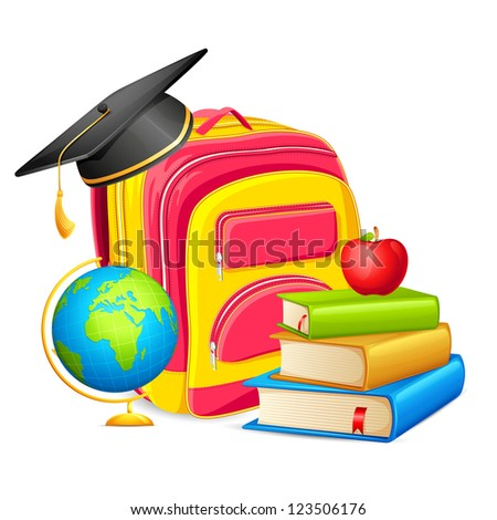 vector illustration of book bag with mortarboard and apple in education background - stock vector