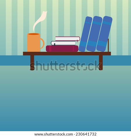 Vector illustration of Bookshelf with books and cup of hot tea in style flat