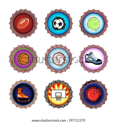 Vector illustration of bottle caps set, decorated with different objects related to sport. - stock vector