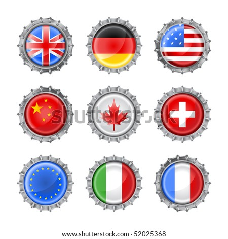 Vector illustration of bottle caps set, decorated with the flags of different countries - stock vector