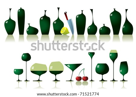 Vector illustration of bottles and glasses set. - stock vector