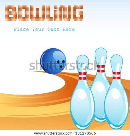 vector illustration of Bowling Pin on Alley - stock vector