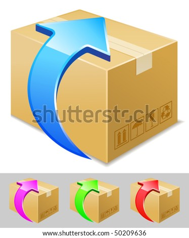 vector illustration of box download icon
