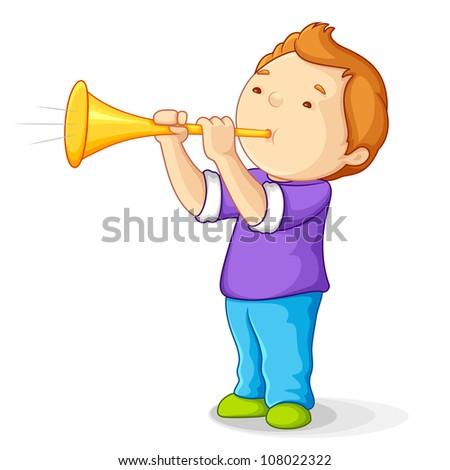vector illustration of boy blowing bullhorn - stock vector