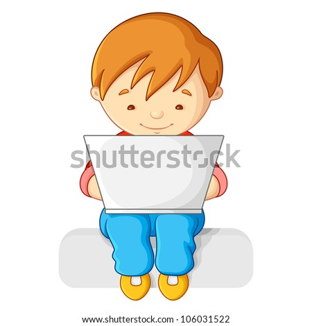 vector illustration of boy working on notebook on his lap - stock vector