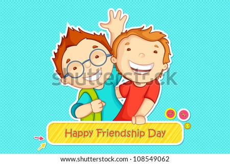 vector illustration of boys greeting on friendship day - stock vector